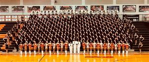 HHS Marching Band group photo in gym