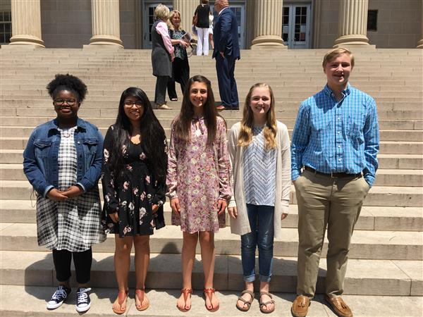 Berry students recognized for Letters about Literature Writing Contest in Tuscaloosa on April 28th