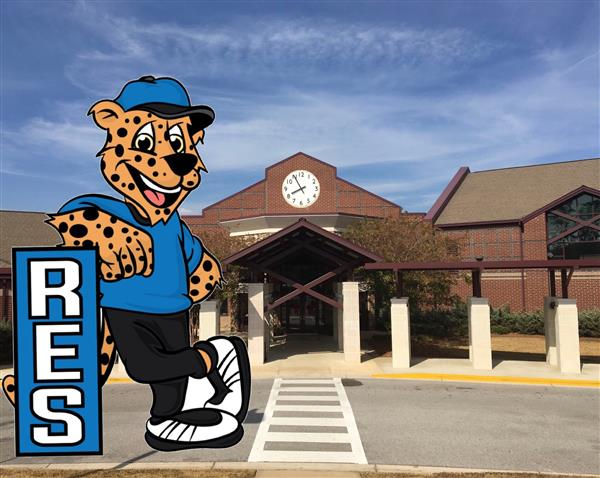 jr. jag in front of the riverchase elementary school