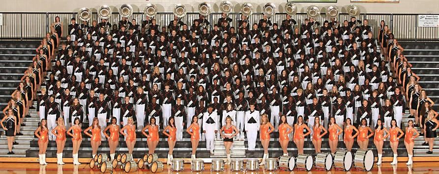 picture of band, color guard and dance team