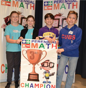 Photo of students winning 3rd place at math tournament.