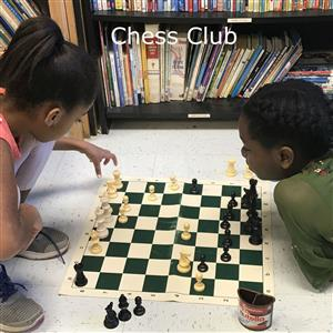 Photo of two Green Valley students playing chess