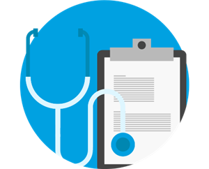 Stethoscope and clipboard clipart