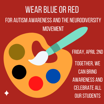 Paint pallette with gold, black, red and blue encouraging people to wear red or blue for Autism Awareness/Acceptance Day