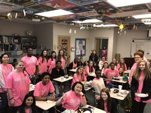 Students Wearing Pink in Classroom