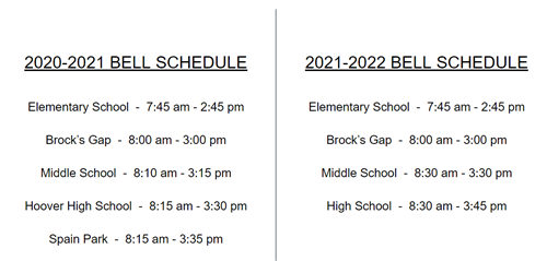 Side by side view of the current bell schedule compared to the new one