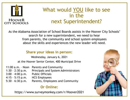 HCS Superintendent Search Meeting Dates