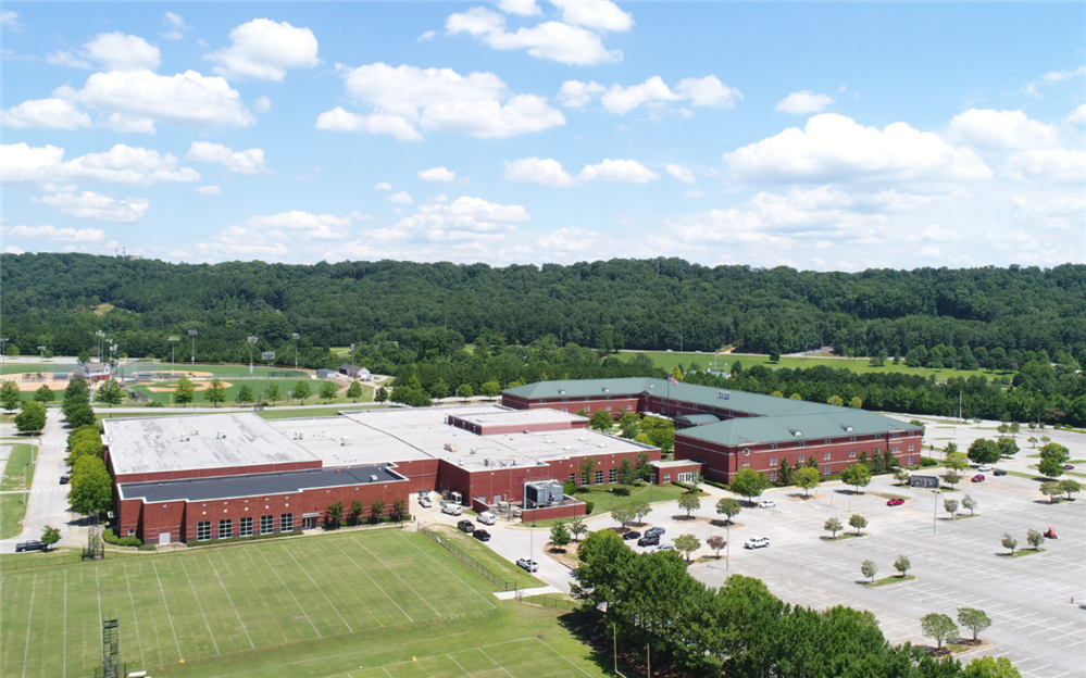 An aerial view of Spain Park High School