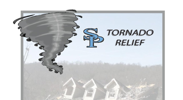 The Spain Park Logo with a gray tornado with the words tornado relief